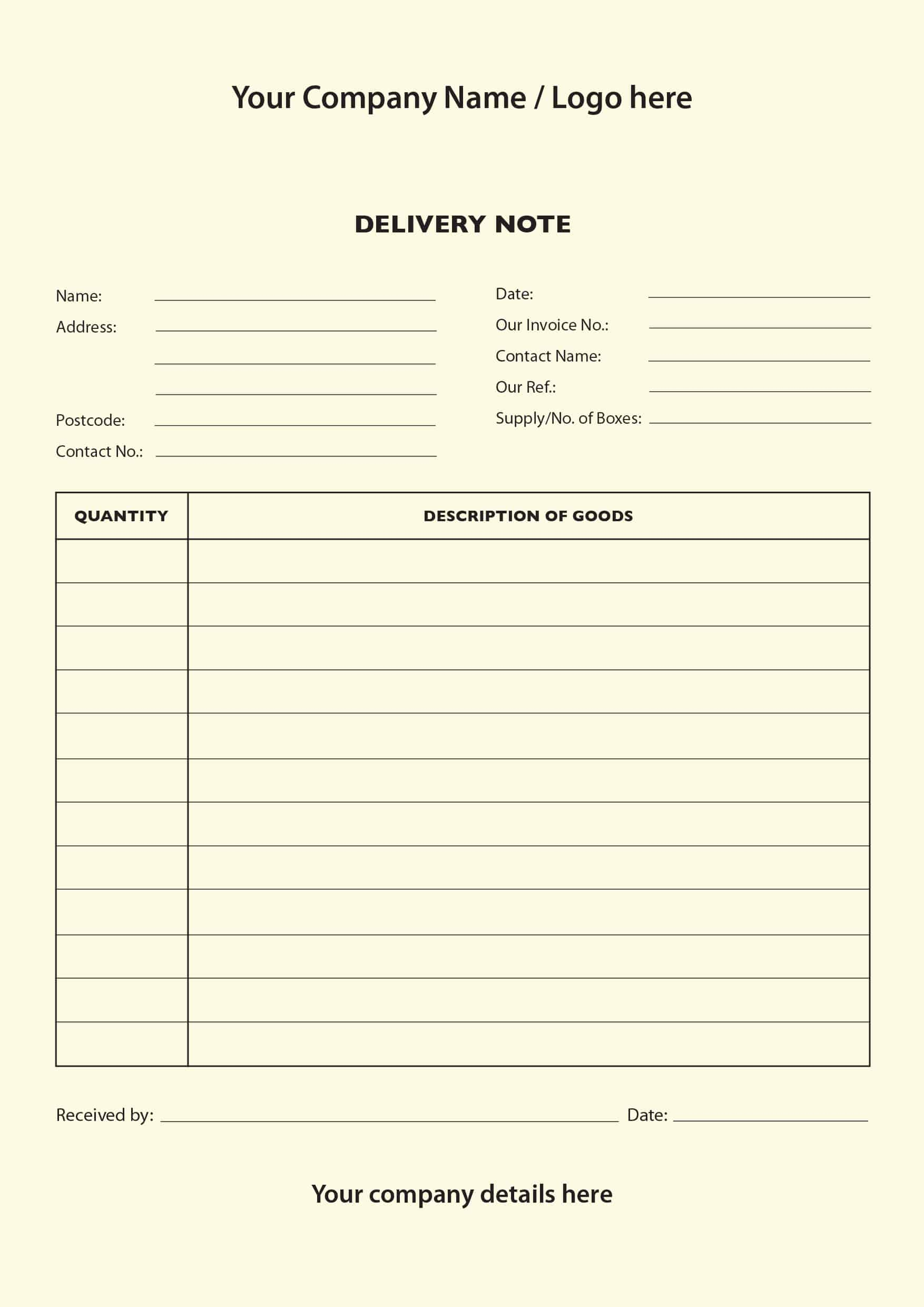 dispatch note template – Delivery Note Template